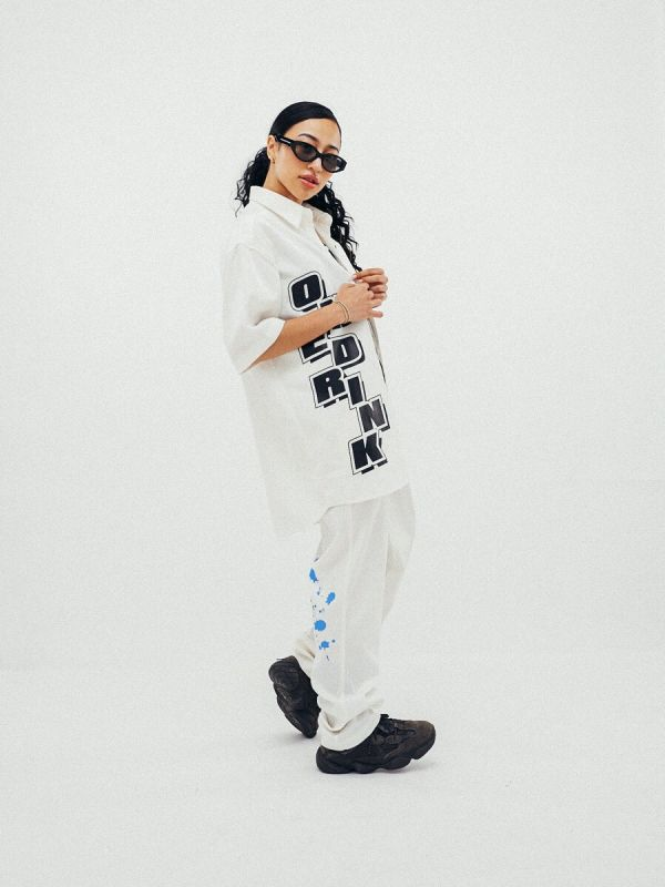ONE DRINK AND WE GO HOME OFF-ROAD 8 PANTS WHITE