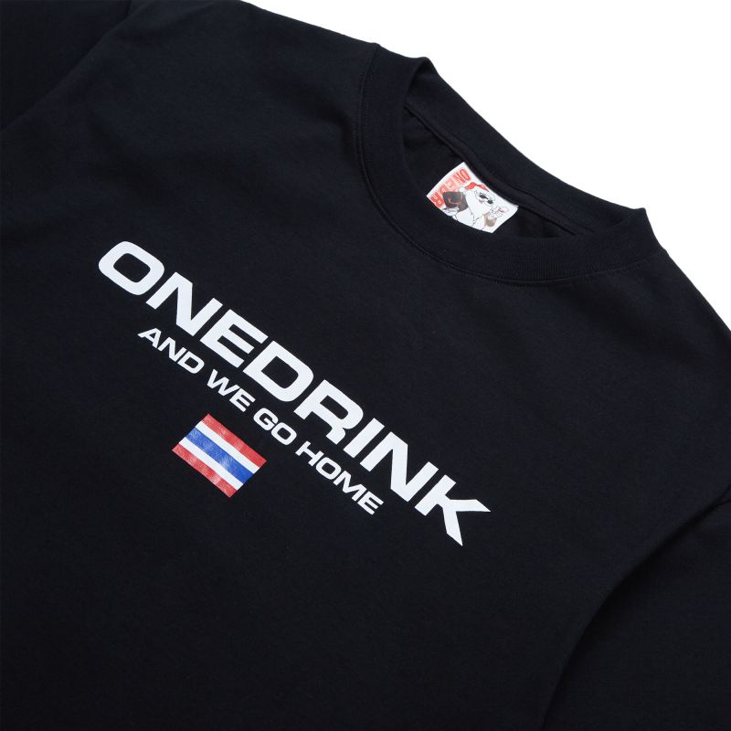 ONE DRINK WALK FROM HOME4 TEE BLACK
